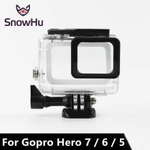 цены SnowHu 45M Waterpro for Go pro 7 6 5 Accessories For Go pro 7 6 5 Waterproof Housing Case Mount For Gopro Hero 7 6 5 With LD08