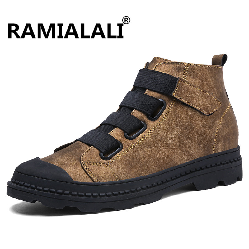 Ramialali Genuine Leather Men Ankle Boots Breathable