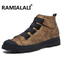 Ramialali Genuine Leather Men Ankle Boots Breathable Martin Boots Man Leather High Top Shoes Outdoor Casual