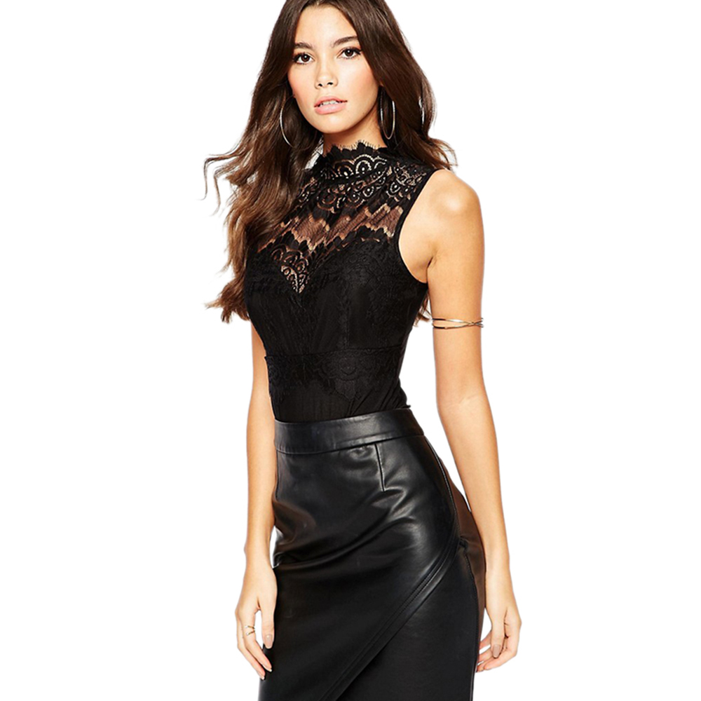 Sexy Elegant  Black Sleeveless Lace Short Jumpsuit Romper Backless Hollow Out Slim Perspective Bodysuit Overalls Playsuit