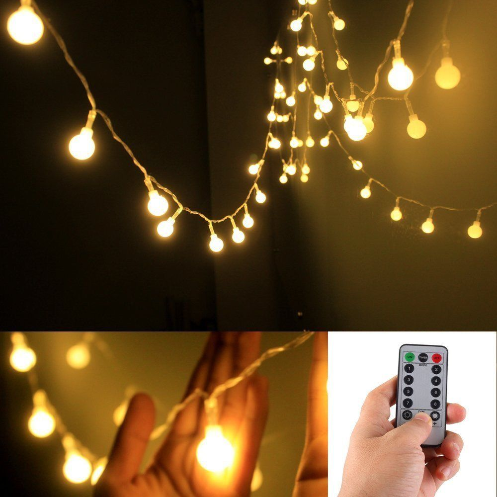 remote timer 5 m 50 led outdoor globe string lights 8 modes