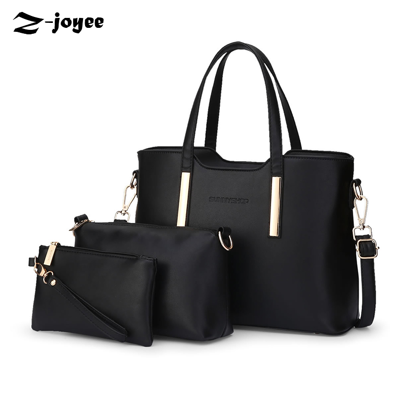 ФОТО Women Designer Handbags High Quality Black Leather Women Bag Luxury Handbags Women Bags Designer 2017 Shoulder Bags Set Tote Bag