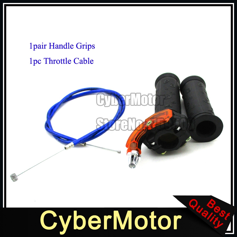 Blue Gas Carburetor Throttle Cable Twist Handle Grips For 2 Stroke 47cc 49cc Mini Moto Dirt Kids ATV Quad Super Pocket Bike 49cc 2 stroke pocket mini dirt bike atv engine with gear box 14t t8f sprocket electric star version handle bar throttle cable