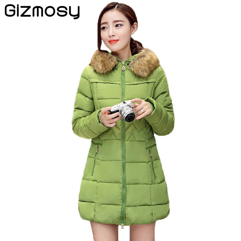 Winter Jacket Women Fur Collar Hooded Thicken Jakcet Female Plus Size Warm Coat Cotton-Padded Long Wadded Parka Outwear BN951 winter cotton outerwear women super fur hooded wadded jacket female medium long padded coat thicken slim parka plus size