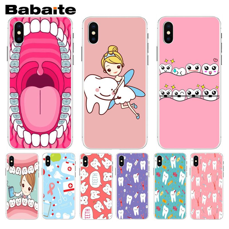 Babaite Nurse Doctor Dentist Stethoscope Tooth Pattern Phone Case For Iphone 5 5s 5c Se And 6 6s 7 7plus 8 8plus Phone Case Half-wrapped Case Cellphones & Telecommunications