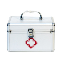 First Aid Kit Lockable First Aid Box Security Lock Medicine Storage Box With Portable Handle For Car, Home, Travel, Camping, O
