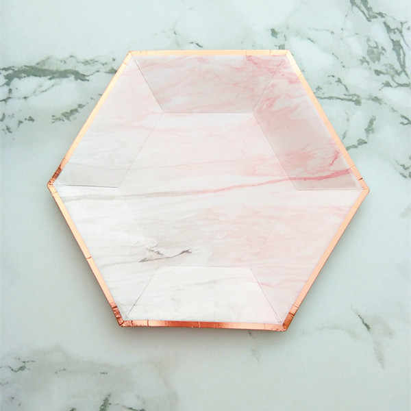 8 pçs blush rosa & rosa ouro sobremesa placas hexagonal folha de papel rosa ouro para festa de despedida de solteira do chuveiro do casamento