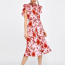 sweet women dress midi pink butterfly sleeve o neck floral print summer ladies dresses sashes casual mid-calf female vestidos цена