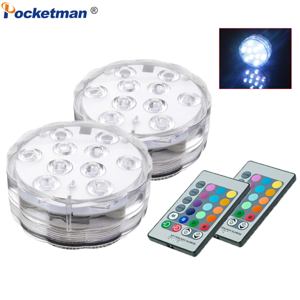 4pc Wireless Waterproof Pool LED Submersible Light RGB Remote Control Underwater