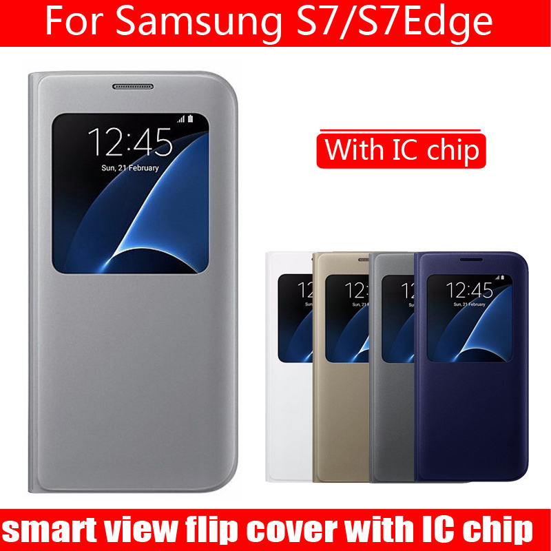 bilder für Luxus mode flip-cover für samsung galaxy s7 case leder smart handy-fällen für galaxy s7edge smart view fenster case