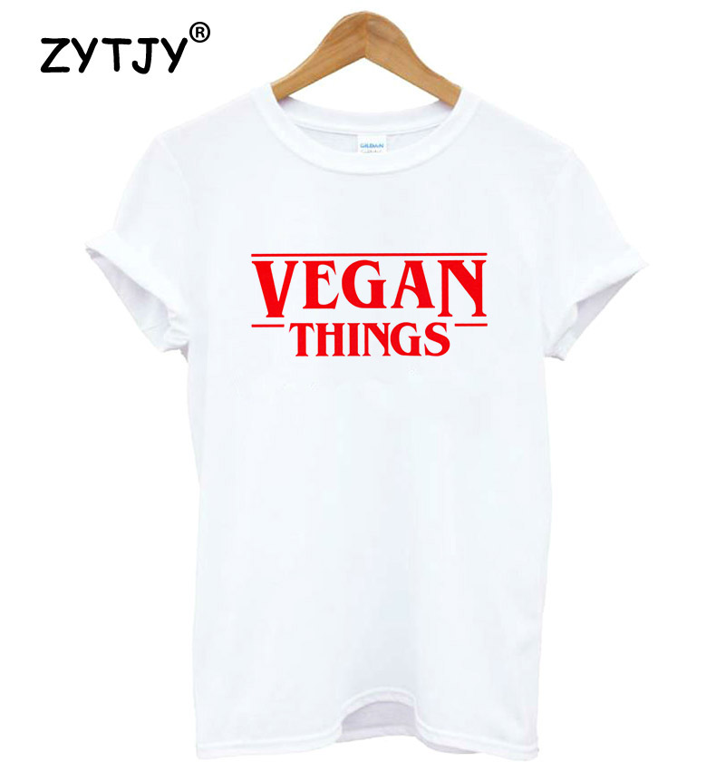 VEGAN THINGS Red Letters Print Women Tshirt Cotton Casual Funny T Shirt For Lady Girl Top Tee Hipster Tumblr Drop Ship MA-14