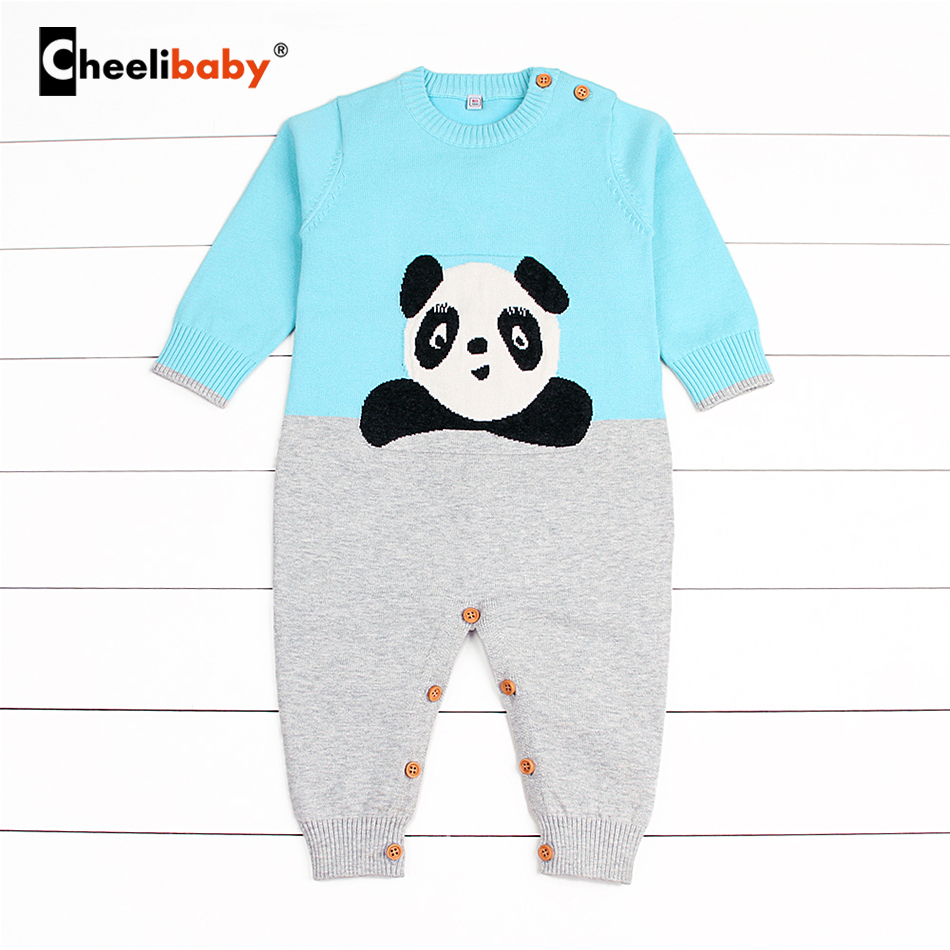 Baby Clothing Jumpsuits Baby Boy Girl Romper Clothes Long Sleeve Panda Playsuit Autumn Winter Warm Bebes Rompers One Piece 2016 fashion baby boy girl romper clothes autumn winter warm bebes playsuit zipper long sleeve jumpsuit one pieces outfits suit