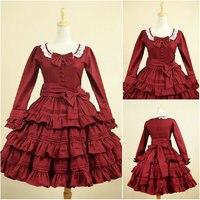 Клиент сделанные красный с длинными рукавами Сладкая Лолита платье короткая юбка Косплэй викторианской Хэллоуин платье v 910
