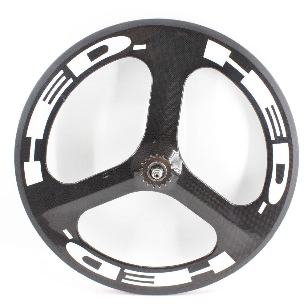 41c2bf85e61b7 1 par nuevo 700C Road Track fixed gear bike 3 K Ud 12 k fibra de carbono  completa la bicicleta del remachador del borde 3 radios ruedas más ligero  envío ...