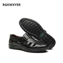 RGKWXYER New Cowhide Men Sandals Genuine Leather Breathable Hole Shoes Outdoor Casual Non-slip Roman