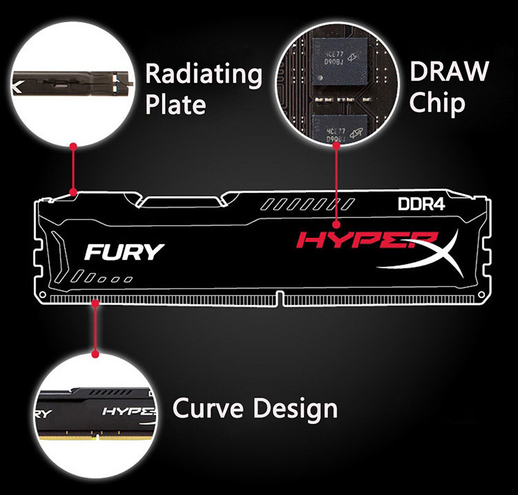 Kingston HyperX FURY 4GB 8GB 16GB DDR4 2400MHz PC RAM Memory DIMM 288-pin Desktop Ram Internal Memory RAM For Computer Games Ram 13