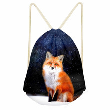 ThiKin Drawstring Bag 3D Fox Printing Mochila Feminina Drawstring Backpack Women daily Casual Girl's School Book Bag