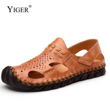 YIGER 2018 New Man Sandals Genuine Leather Leisure Driving Shoes Men Beach Sewing Slip-on Ankle-Wrap Casual  0102