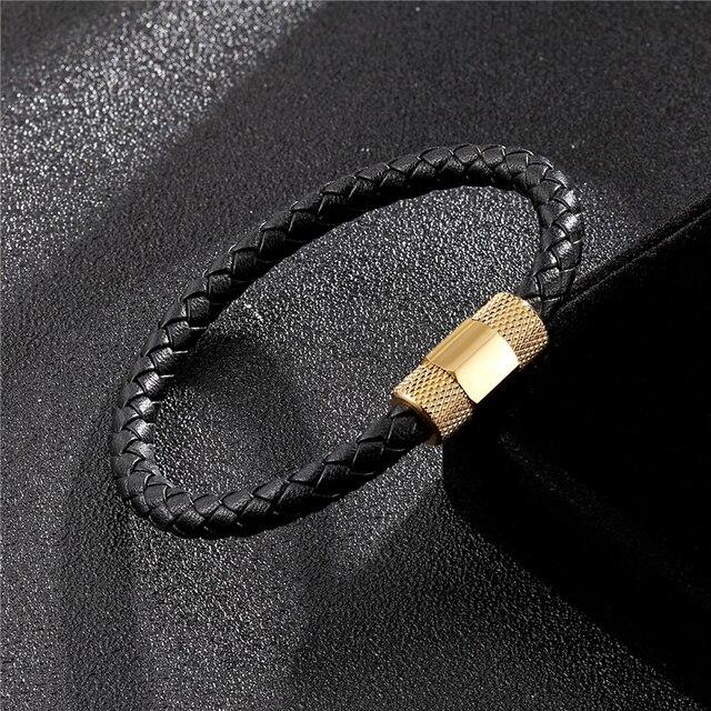Новый мужской браслет из нержавеющей стали Модный черный кожаный