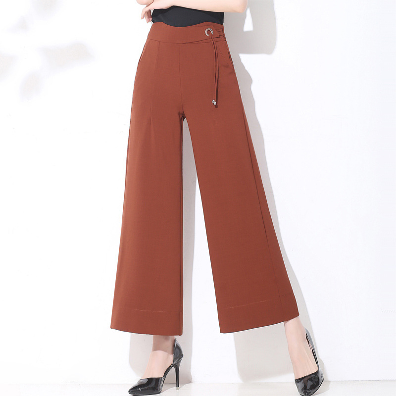 2018 Female   Wide     Leg     Pants   Metal Elastic Waist Wild   Wide     Leg     Pants   Casual   Pants   Pantalon Femme Plus Size Trousers Women Harajuku