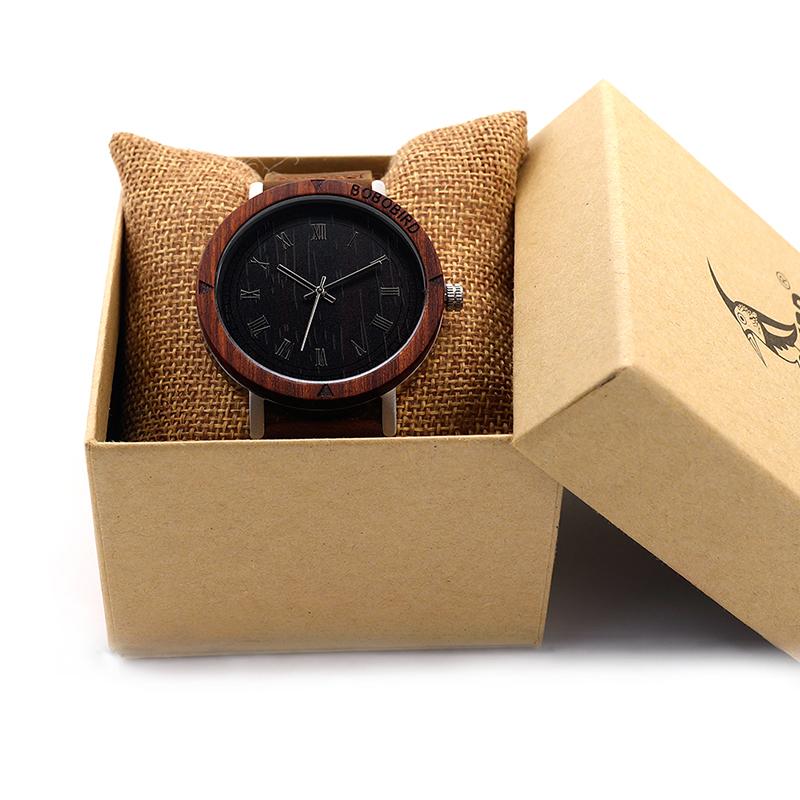 Watch Men Leather Strap Wooden Watches Luxury Wood Wristwatches relogio masculino C-K06 (2)