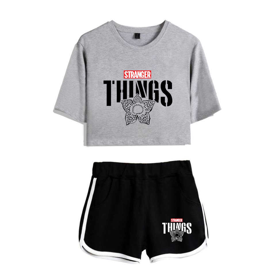 2019 Nnw Stranger Things 2 Pieces T-shirt Short Pants Sets Popular Fashion comfortable Women Summer High Street Basic Hip Hop