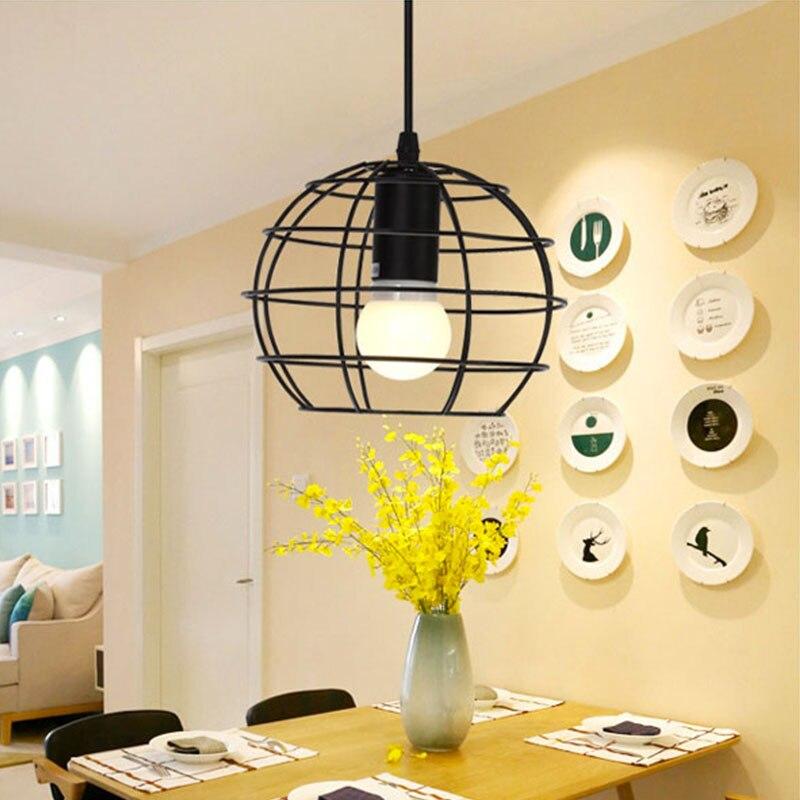 [DBF]Modern Loft Black Cord Iron Pendant Lamps Lights Europe Style Hanging Pendant Lighting Fixtures E27 AC220V Indoor Lighting