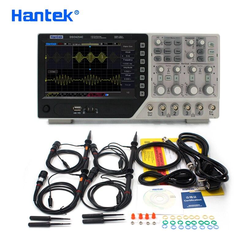Hantek oficial dso4254c osciloscópio digital 4 canais 250 mhz lcd usb portátil osciloscópios + ext dvm função de faixa automáticausb oscilloscopedigital oscilloscopeoscilloscope 4 channels -