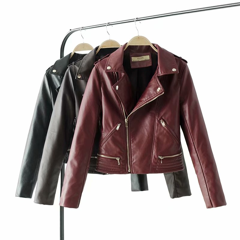 Fashion mandarin collar womens jackets black wine red   leather   clothing slim motorcycle   leather   jacket women outerwear coats 2019