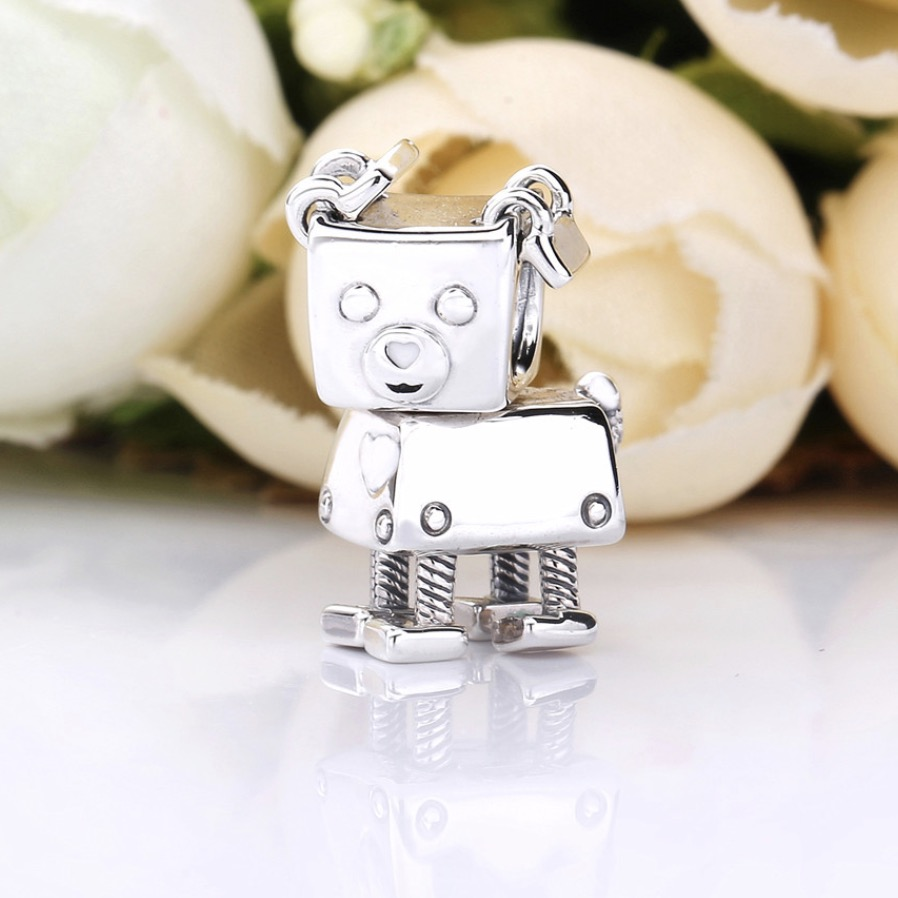 925 Sterling Silver Pig Robot Charms Fit Pandora Charms Silver 925 Original Bracelet Cute Animal Beads For Jewelry Making Women