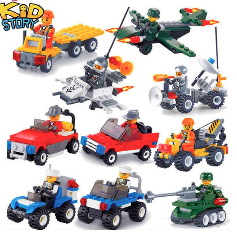 12 Kinds Mini Transportation Car Contain Building Block Compatible legoeINGlys Duploe City Soliders Police Serie Bricks