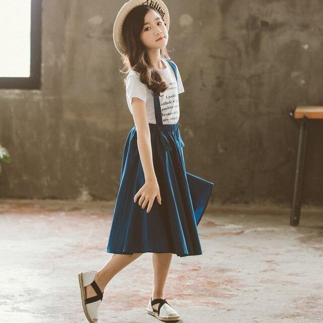 2019 Summer Kids Fashion Girls Clothing Sets 2 pcs Letter T-Shirt & Strap Skirt Set for 8 12 Years Child Teen Girls Clothes Set 1