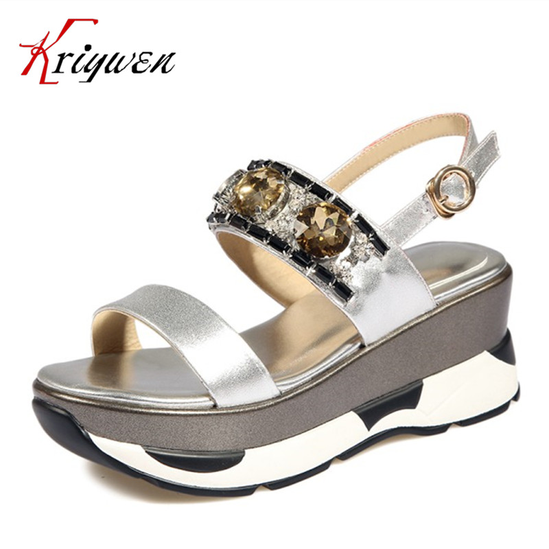 Summer Women Sandals New Female Fashion Genuine Leather Cow leather crystal woman shoes wedges high heels Gladiator party Shoes phyanic 2017 gladiator sandals gold silver shoes woman summer platform wedges glitters creepers casual women shoes phy3323