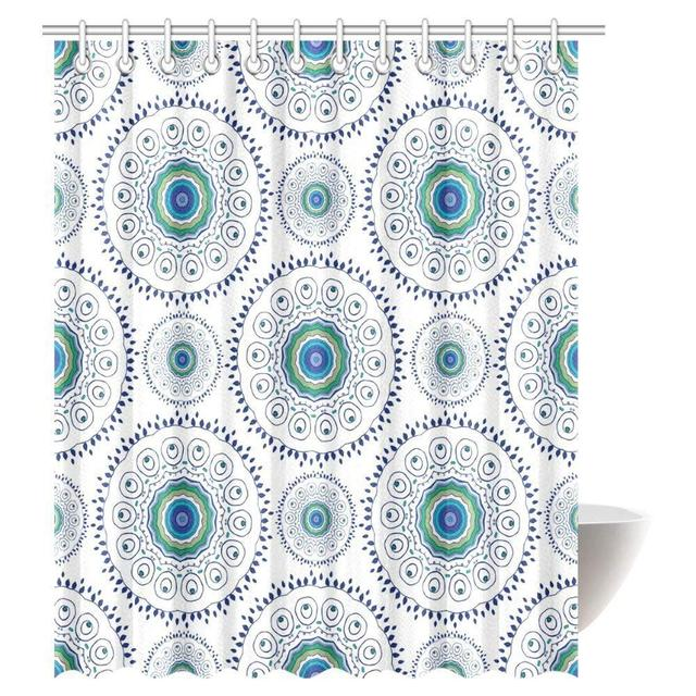 Feather Peacock Shower Curtain Home Decor Indian Floral Mandala Form Made With Digital Folded Radiant Forms Boho Bathroom