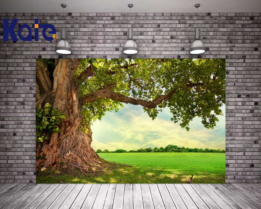 KATE 5x7ft Photo Background Spring Scenery Backdrops Green Grassland and Tree Background Natural Children Photo for Studio kate photo background scenery