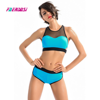 Faerdasi New Lace Bikini Set Women Two Pieces Bathing Suit Patchwork Beachwear Blue Swimwear Boxer Bottom