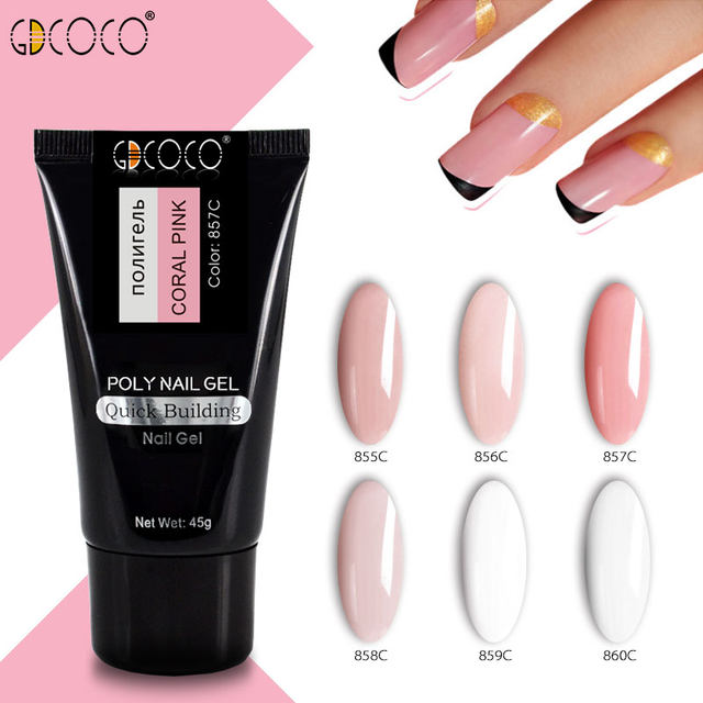 GDCOCO 45g Jelly Poly Builder Gel Nail Art Manicure Clear Pink Natural Camouflage Hard French Nails Extend