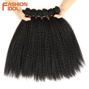 Image 2 - MODE IDOL Afro Verworrene Gerade Haarwebart 6Bundles Mit Closure Ombre Synthetische Haar Verlängerung 7 teile/los 16inch Für schwarz Frauen