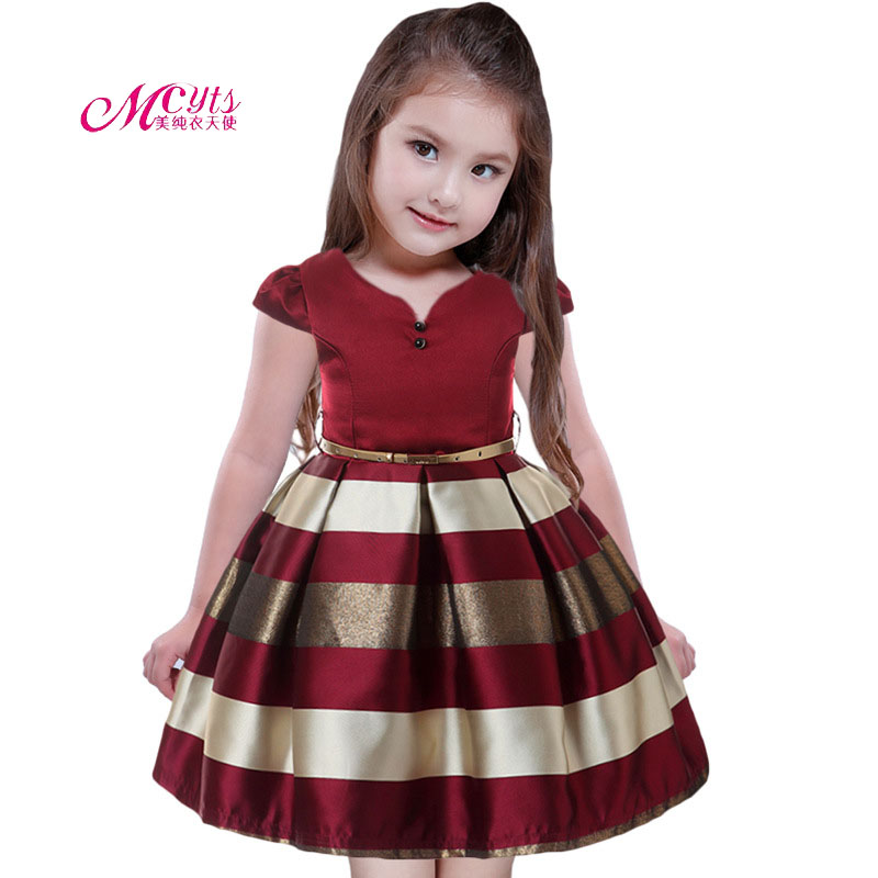 Girls Dresses Stripes Princess Costume Kids Clothes Short Sleeve Party Dress 2018 New Children Prom Dresses 4 6 8 10 11 12 Years girls party dresses 2018 new kids