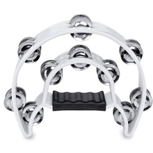 Wholesale 5X Double Row Jingles Half Moon Musical Tambourine Percussion Drum White Party KTV