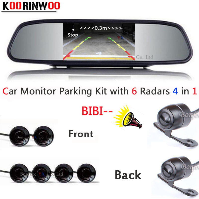 Car Monitor Video Car parking Sensor Show Distance Front and back Car Rear view camera Parktronic System Reverse radar for car dual channel video car 6 pcs 13mm flat parking sensors reverse backup radar system with front view camera and rear view camera