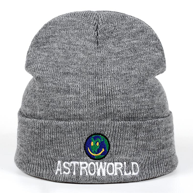 949630c9b92 Dropwow 2018 New Travi  Scott Beanie ASTROWORLD Knit Cap Embroidery ...
