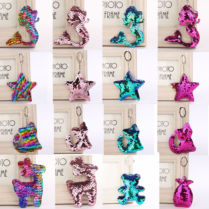 Sale Sequins Mermaid Pineapple Stars Deer Shaped Keychain For Women Glitter Key Chain Gifts Key Ring Girls Car Bag Accessories