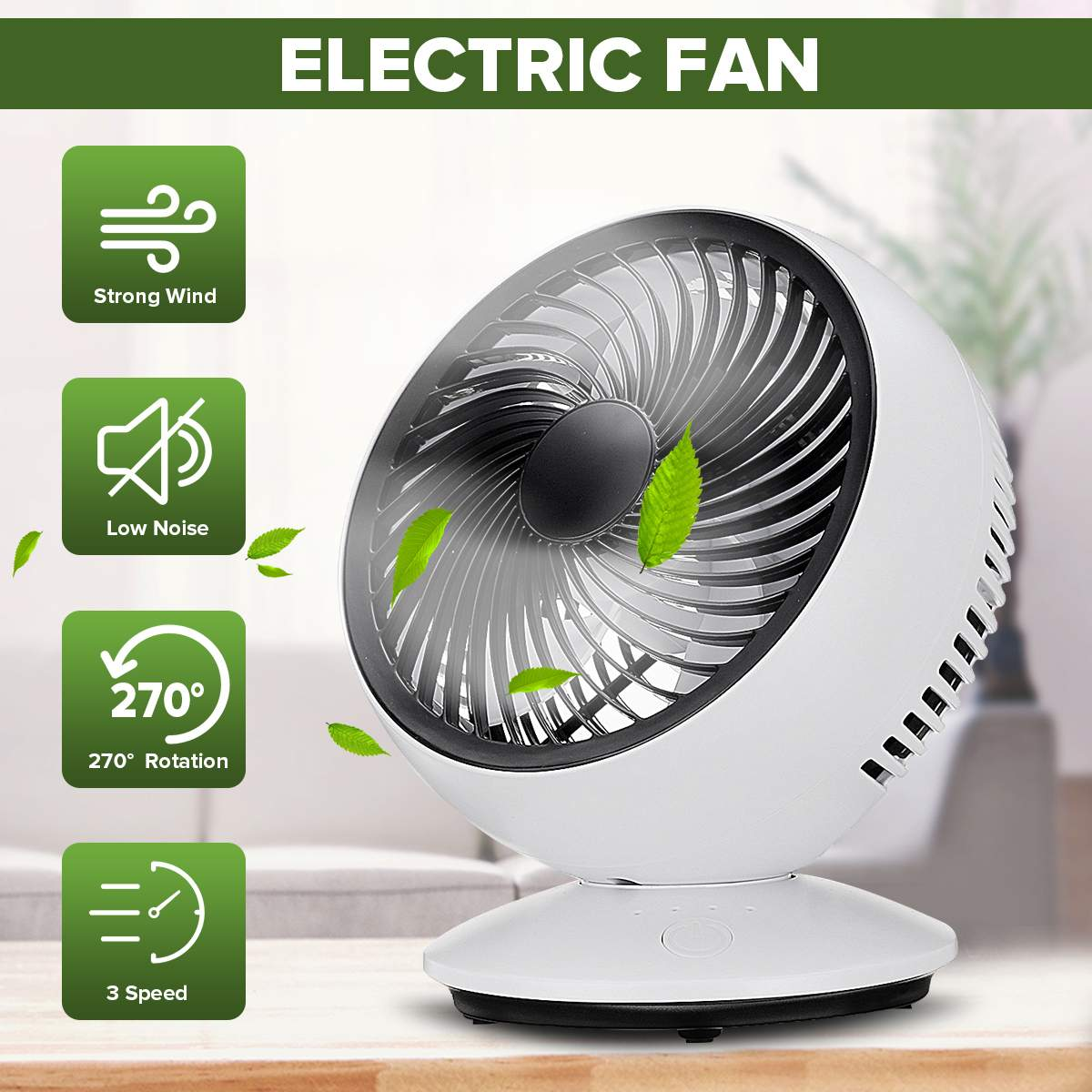 Dual Head USB Powered Mini Desk Fan for Car Home Office 360 Degree Rotatable Auto Fan 3 Speed Adjustable