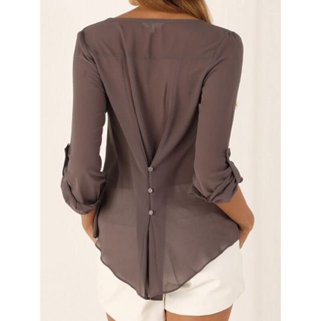 78ee24b8 US $10.0 |3xl 4xl 5xl Slim Fit V Neck Long Sleeve Chiffon Blouse Shirt Plus  Size Women Top White Gray Blue Black Brown Red Green Blusas-in Blouses & ...