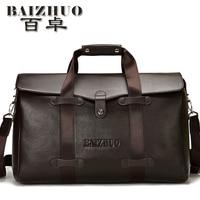 Бесплатная доставка 2017 дизайнерский бренд мужской натуральная кожа ручной клади сумки travel duffel сумки двойная функция мешок itemsTB34