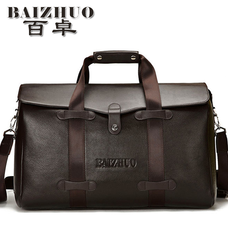 Free shipping 2017 designer brand male genuine leather carry on luggage handbag travel duffel bags dual function bag itemsTB34