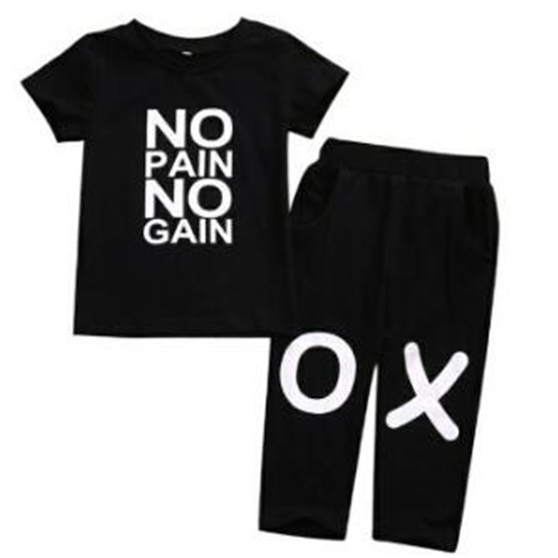2018 Fashion Summer Clothes Set Baby Boys Girls T-shirt+ Long Pant Toddler Letter Printed Tops Kids Clothing Set 0-4T