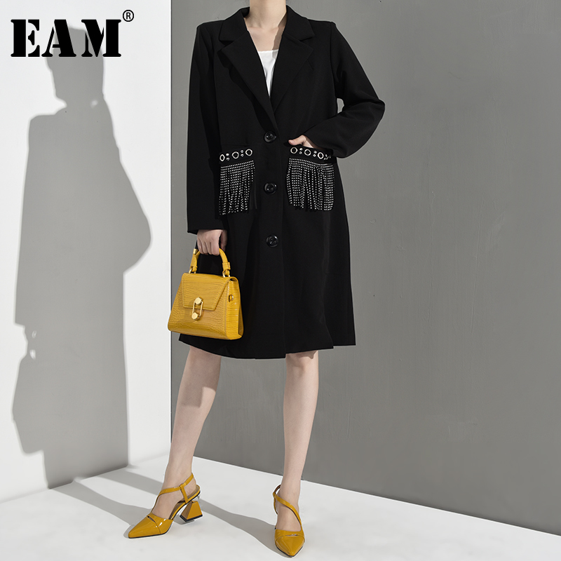 EAM 2019 New Spring Summer Lapel Long Sleeve Black Loose Tassels Pocket Split Joint Loose
