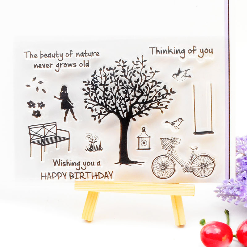 Clear Stamp Scrapbook DIY photo cards rubber stamp seal stamp  Happy Birthday Tree  transparent silicone transparent stamp 3d laser cut pop up greeting cards happy birthday postcards vintage chic retro peacock thank you gift message cards for girl